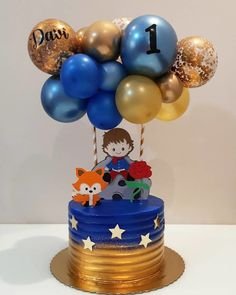 Twin Birthday Cakes, Baby Boy 1st Birthday Party, Prince Birthday Party, Birthday Table, Christening Decorations, Diy Birthday Decorations, Little Prince Party, The Little Prince, Balloon Cake