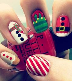 2013 Christmas candy cane nails, Christmas candy cane nails design in 2013, candy cane short nail art in 2013