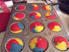 """Superman"" Cupcakes - Inspired by my favorite ice cream ... Vanilla cupcakes with vanilla buttercream frosting"