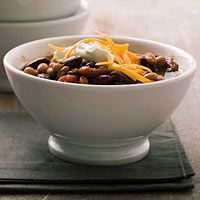 Three-Bean Vegetarian Chili Recipe ---hmmmmmm - might be good for one of those Meatless Mondays????