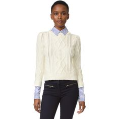 Veronica Beard Surrey Sweater ($450) ❤ liked on Polyvore featuring tops, sweaters, white sweater, cream sweater, veronica beard, cream top and white top