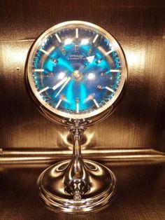 Horloge-pendule-chrome-1970s-Strauss-Canadian-Time-Japan-vintage