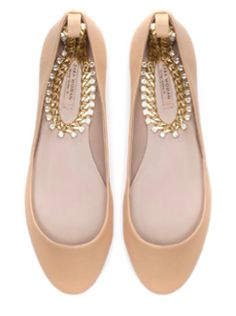Zara bejeweled ankle strap flats