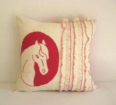 Horse silhouette pink  ruffle pom pom decorative by TalesSweetTale, $41.00