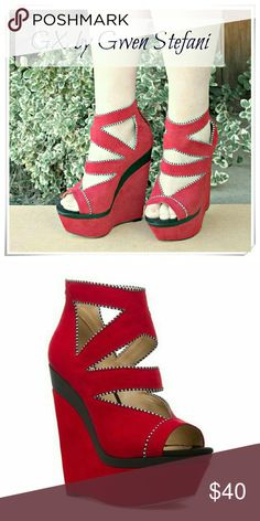 """👠 GX by Gwen Stefani Chika bootie platform. NWOT. 🌟Fancy wedge booties with peep toe, cutouts, and back zip clouser. Colors red (the darkest shade in the pictures) and black. Piping red and black. Amazing shoe!!!   🌟Details; heel 5-3/4"""", platform 2"""", fits TTS, comfy.  🌟Please use only ✔OFFER 👈 button for all price negotiations. I'll do 👉🍓a price drop⤵ for you for discounted shipping, if we agree about the price. GX by Gwen Stefani  Shoes Wedges"""