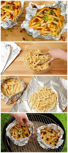 Cheesy Fries How-To Loaded cheesy fries on the grill in 3 easy steps!Loaded cheesy fries on the grill in 3 easy steps!Foil-Pack Cheesy Fries How-To Loaded cheesy fries on the grill in 3 easy steps!Loaded cheesy fries on the grill in 3 easy steps! I Love Food, Good Food, Yummy Food, Hobo Meals, Grilling Recipes, Cooking Recipes, Jai Faim, Great Recipes, Favorite Recipes