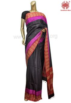 Description: This is a hand block printed Gachi Tussar Saree with kantha work on the border & palla.The mannequin is wearing a blouse from our stylist's collection. Code No: S/DAL40 Visit our Website: http://kamaniya.org/sarees-1/