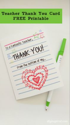 Don't forget to say thank you this school year! Download a free printable teacher thank you card from DIY Inspired for anyone who needs special thanks. Have your kids write a note inside too for a personalized touch.