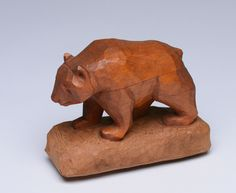 Bear. Red oak carved with pocket knife, early   work.