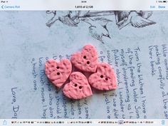 Pretty set of children's handmade buttons.OOAK designer textured heart buttons by PolymerClayEmporium on Etsy Heart Button, Polymer Clay Beads, Your Design, Heart Shapes, Buttons, Texture, Pretty, Pink, Handmade