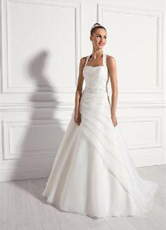 Elegant Neckholder Asymmetrisch Organza Hochzeitskleider EHS91306016
