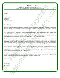 teachers aide cover letter sample more