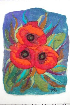 A wet felted artwork rich color palette hand sewn by thereseholt