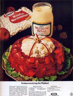 1973 = the era of  mini-marshmallows, Miracle Whip, and Jello salads