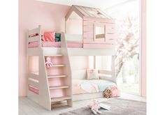 Cento Pink stapelbed bedhuisje kinderkamer - cm Specialist in kinderkamers en slaapkamers Ikea Bunk Bed, Full Bunk Beds, Pink Houses, Girls Bedroom, Baby Room, My House, Kids Room, House Design, Furniture