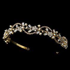 Gold Bridal headpiece, Gold Bridal headband, Gold wedding tiara, Rhinestone and pearl headpiece on Etsy, $75.00