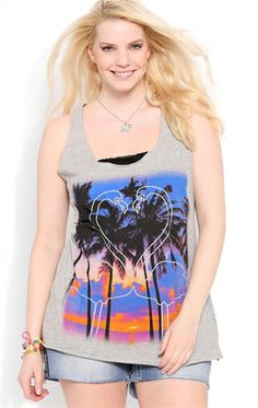 Deb Shops Plus Size Racerback Tank with Tropical Sunset and Mirrored Flamingo $12.99