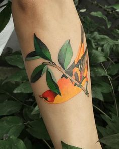 Amazing-bird-and-leaves-tattoo-97 Dr Tattoo, Calf Tattoo Men, Tattoo Mama, Lotus Tattoo, Songbird Tattoo, Bluebird Tattoo, Bird And Flower Tattoo, Bird Tattoo Back, Bird Tattoos For Women