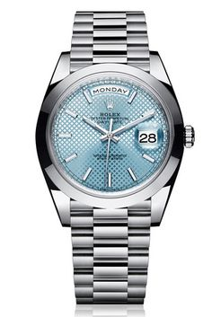 The Rolex Day-Date 40 in 950 platinum with an ice blue dial with diagonal motif and a President bracelet. This model features an updated design and the new-generation Rolex movement: calibre Dream Watches, Cool Watches, Rolex Watches, Fancy Watches, Latest Watches, Rolex Day Date, Der Gentleman, New Rolex, Charms