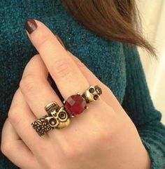 Wholesale Product Snapshot Product name is 1086 vintage punk skull ruby finger ring