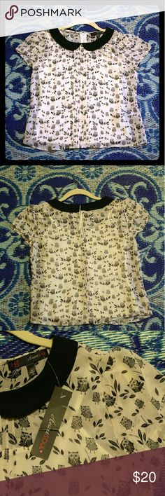 Peter pan collar owl print top NWT. Adorable white top w black Peter Pan collar and black owl print! Will fit a small or extra small. Sheer and comes w/attached white camisole. Does not stretch. HeartSoul Tops Blouses