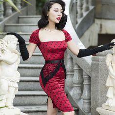 e36d80427c1c7 ... Comprar Le palais de la vendimia delgada dress elegante seda del faux  borla rayón toque tejido de Punto Negro de Cuello Cuadrado Corto Manga 50 s Pin  Up ...