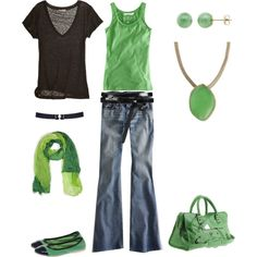 green & black casual