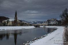 Salzburg, Salzach, Festung, Österreich, Winter