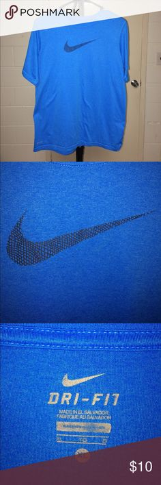 Nike Training shirt Blue Nike shirt with the Nike Swoosh graphic on the front. Material made with Dri-Fit. No damage or signs of use. Size Boys XL. Nike Shirts & Tops Tees - Short Sleeve
