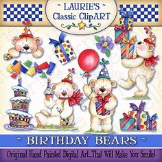 Birthday Bears Digital Art Collection :: Collections :: Clipart and Graphics :: Aimee Asher Boutique