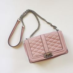 Rebecca Minkoff pink cross body purse how bout this Pantone color of the year!! This crossbody purse is in really great condition. It hold its shape nicely, the interior is spotless, the silver hardware is nice and the leather shows minimal signs of wear. Rebecca Minkoff Bags Crossbody Bags