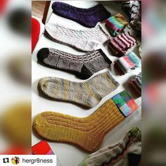 I  this so hard! @hergr8ness has made some really beautiful Test knits of some of my designs and here they are in one place - like a family photo of socks  #Repost @hergr8ness with @repostapp  Evolution of sock knitting  @knitalot924 @knit_picks @turtlepurlyarns  1.#heliotropesocks 2.#goodkarmasocks 3.#hellosweetiesocks 5.#moriartysocks 6.#rainbowdashsocks 4.#hermioneeverydaysocks Top row socks are all vanilla pattern socks #knittersofinstagram #knit#handknitsocks #igknitters…