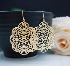 Jewelry Dangle Earrings Matte gold plated by earringsnation