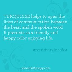 Put happy #turquoise in your life! #positivityincolor
