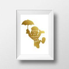 Wall Art Disney Jiminy Cricket Gold Print,Pinocchio,Disney Quotes,Gold Textured Print,Nursery Wall Art,Printable Disney,Disney Poster,Foil