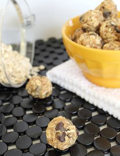 No Bake Peanut Butter Chocolate Chip Balls - probably takes you just as long to say that as to make it! Oats, almond flour, flax seed and coconut flakes allegedly combine together to taste like a Reese's peanut butter cup.