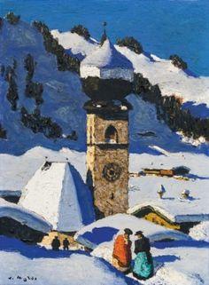 """ALFONS WALDE, """"Tiroler Bergdorf"""", verkauft um € 220.000 / € 277.200 E Magazine, Landscape Paintings, Original Artwork, Wall Art, Artist, Prints, Snow Art, Auction, Idea Paint"""