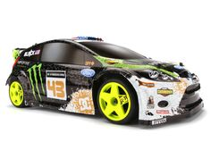 HPI RACING Ken Block WR8 Flux | An exact scale replica of Ken Block's 650hp Gymkhana Five Ford Fiesta H.F.H.V. powered by a 4000Kv HPI Flux Vektor motor, 2S/3S LiPo capable HPI Flux VAPOR Pro electronic speed control, full time 4WD shaft drive technology and sealed super tough adjustable gear differentials and lots more ..