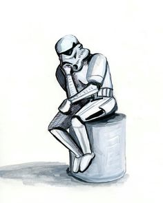 Stormtrooper as Rodins famous sculpture The Thinker