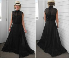 Vintage Black Formal Gown Prom Dress Party Romantic by soulrust, $99.99