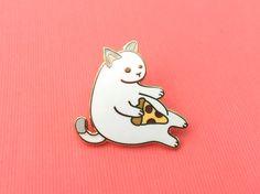 White Pizza Cat enamel pin (cute cat pin hard enamel pizza pin lapel pin badge kitten pin white cat pepperoni pizza gift cat lover gift)