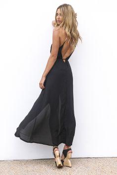 Black Plunging V-Neck Maxi Dress with Slit Front&Open Back