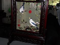 20131 asian million tick art and frame stand in rosewood - $5000 or best offer - free shipping or pickup in sarchi costa rica 2 birds