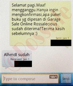 SMS konfirmasi bahwa barang telah diterima.
