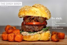 PornBurger_DirdyBirdy  This is a classic case of a racy burger flown a-fowl: A duck confit burger, scandalously dressed in fried chicken hearts, smothered in fig catsup, and bedded on a creamy spread  of chicken liver pâté. This is certainly one bird you won't be bringing home to umami and daddy.