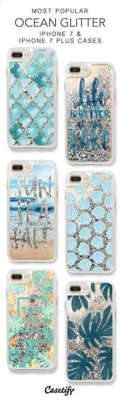 Most Popular Ocean Glitter iPhone 7 Cases & iPhone 7 Plus Cases. More glitter iPhone case here > www.casetify.com/... http://amzn.to/2s1QEt1