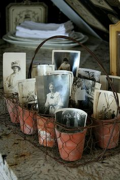 great photo display in clay pots set in wire basket