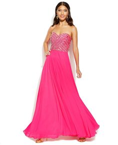 Xscape Embellished Lace-Up Strapless Gown