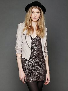 How to wear the French Terry/Linen Moto Jacket: over a print dress and tights // September 2013 Golden Tote