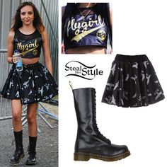 Jade Thirlwall left Ponty's Big Weekend after her performance today with her bandmates wearing an EducateElevate Black & Gold Flygirl Crop Top (£18.00), her BOY London Repeat Skirt (£55.00) and her Dr. Martens 1B99 Boots ($130.00).